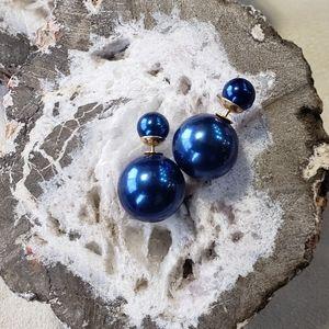 Navy Gold Double Pearl Earrings